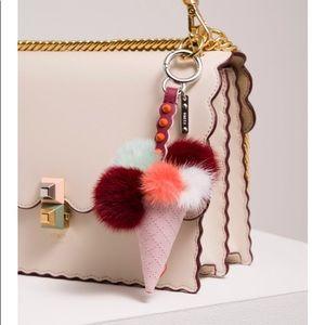 Auth. Fendi NEW Mink Fur Ice Cream Bag Charm